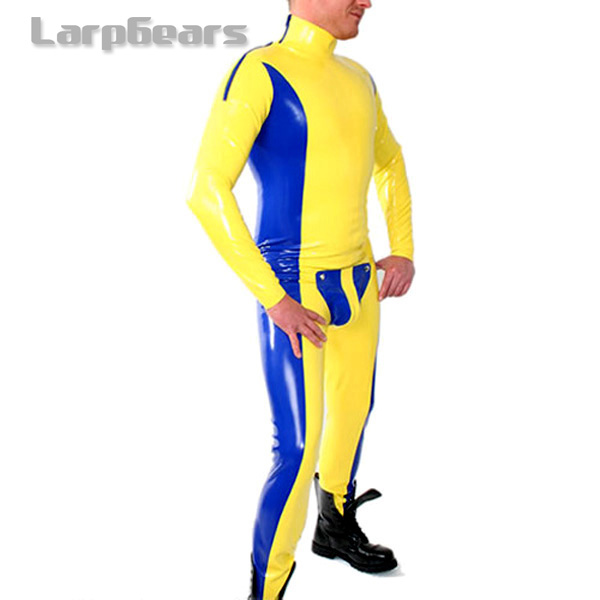 Yellow with blue Latex Rubber Men s Codpiece Catsuit Latex Tights Rubber Catsuit Bodysuit