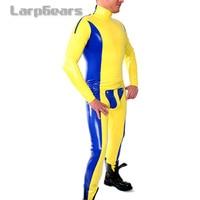 Желтый с синим латекса Для мужчин; гульфик комбинезон из латекса колготки Резина Комбинезон боди