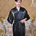 2017 Новый Шелковый Дракон Кимоно Hombre Китайский Cheongsam мужской Пижамы V-образным Вырезом Воротник Халат Ночное С S/M/L/XL Размер