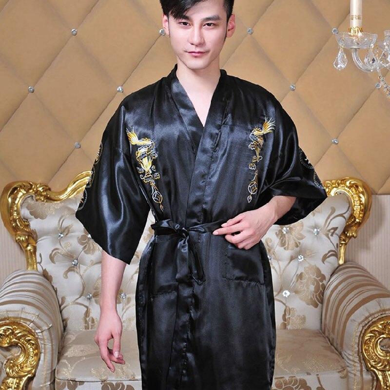 2f6a78cbb5 2017 Newly Silk Dragon Kimono Hombre Chinese Cheongsam Men s Sleepwear V  Neck Collar Bathrobe Nightwear With S M L XL Size-in Robes from Men s  Clothing   ...