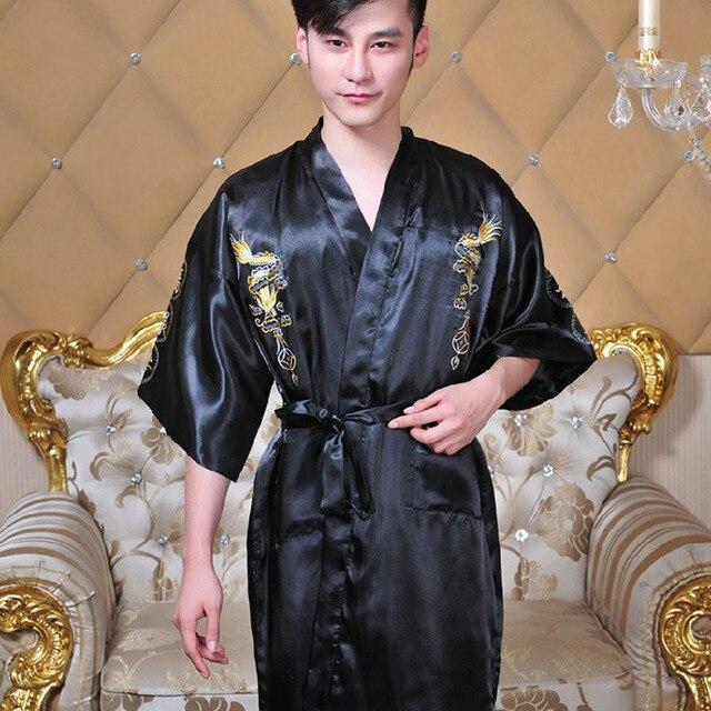 2017 Newly Silk Dragon Kimono Hombre Chinese Cheongsam Men's Sleepwear V-Neck Collar Bathrobe Nightwear With S/M/L/XL Size