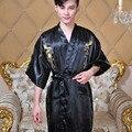 2017 Nuevo Hombre Chino Dragón Kimono de Seda Cheongsam ropa de Dormir Con Cuello En V de Cuello de Los Hombres Albornoz Ropa de Dormir Con S/M/L/XL Tamaño