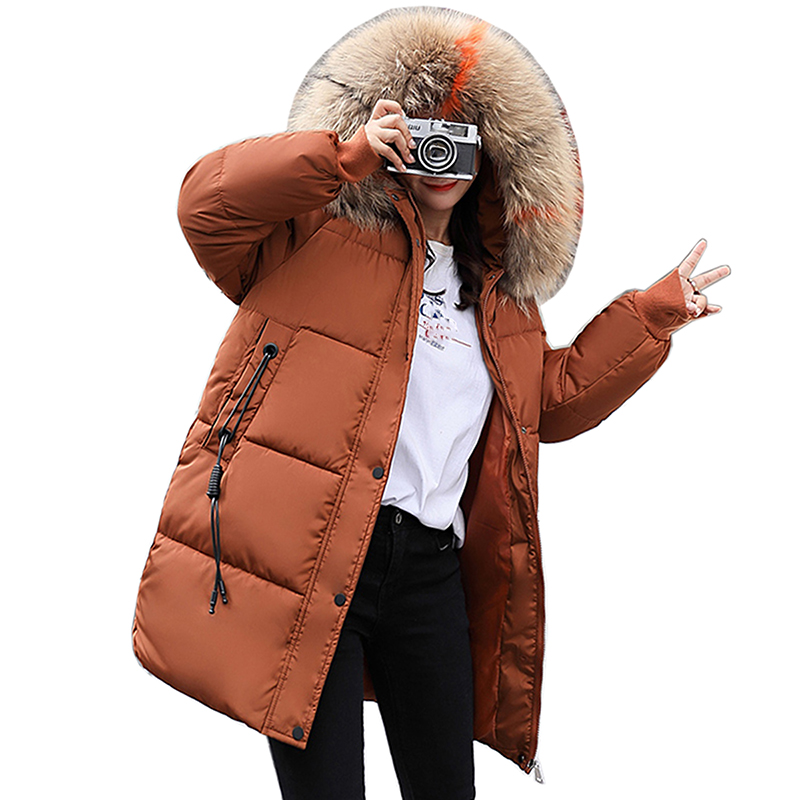 2018 Snow Wear Autumn Winter Cotton Padded Long Coat Women Outwear Warm Casual Jacket Plus Size Loose Solid Color Female   Parkas