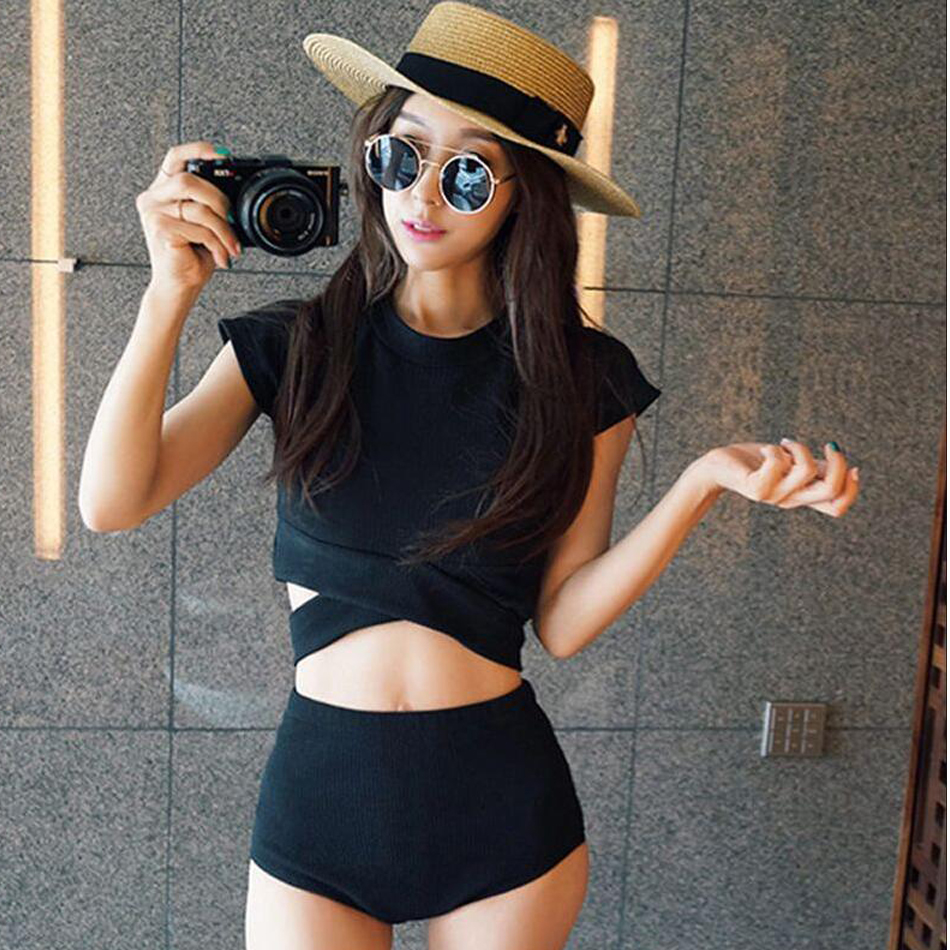 New Korean Style Sexy Hem Bikinis Set Middle Waist Swimsuit Women Biquini Suit Two Pieces Swimwear Black Swimsuit High Quality