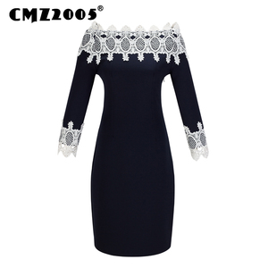 Cute Robe Plus Size Autumn Dresses Slash Full Vestidos Dress Hot Sale Freeshipping Special Offer Hollow Out Neck 317