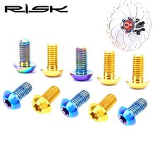 Risk Mtb Bike Disc Brake Rotors Bolts Titanium M5*10 MM Bicycle Rotors Bolts 12 Piece free shipping tito titanium mtb bike frame 26 27 5 29 hidden disc brake seat 142 12 barrel shaft bicycle