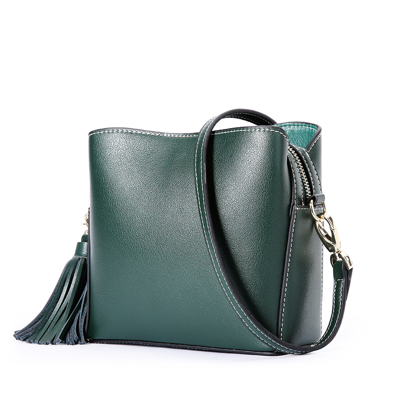 2018 New Genuine Leather Women's Bag Europe Fashion Female Shoulder Bags Ladies Small Square Cowhide Cross Body Bags Tassels