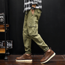 New Men Fashion Casual Cargo Pants High Street Hip Hop Male Solid Color Overalls Trousers Loose Harem Pant
