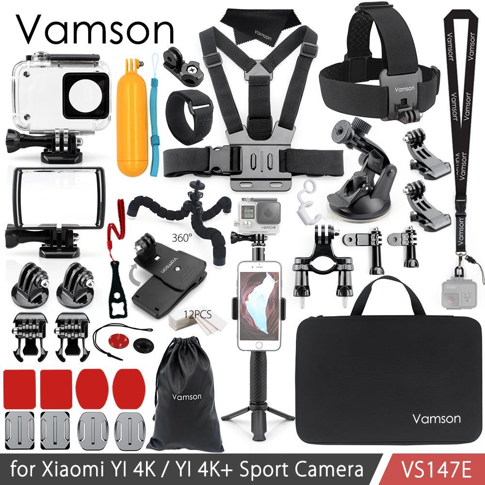 Vamson für Xiao YI 4K Zubehör Kit Set Stativ Einbeinstativ Kopf Cheat Strap Bag Adapter Halterung für YI 4K + für YI Lite Kamera VS147