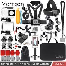 Vamson için xiaomi YI 4K aksesuarları kiti seti Tripod Monopod başkanı göğüs kemeri çantası için montaj adaptörü YI 4K + için YI Lite kamera VS147