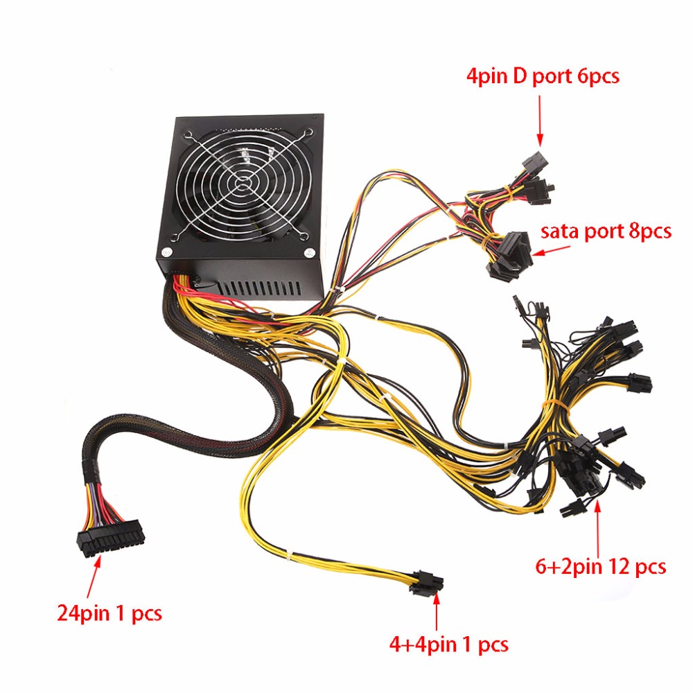 1600W ATX Power Supply 14cm Fan Set For Eth Rig Ethereum Coin Miner Mining 1600w modular power supply for 6 gpu eth rig ethereum coin mining miner 90 gold high quality computer power supply for btc