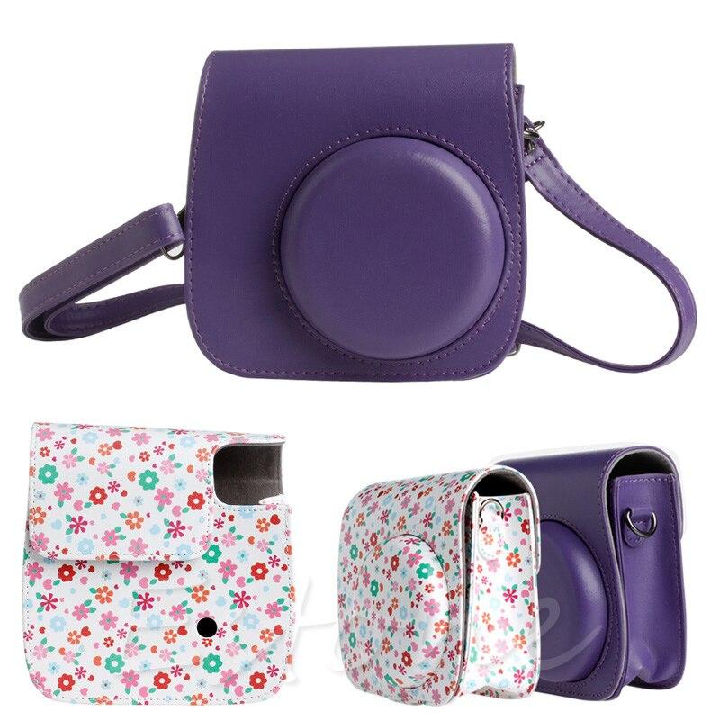 1 PC Flower Faux Leather Camera Case Bag Protector For Fujifilm Polaroid Instax Mini8