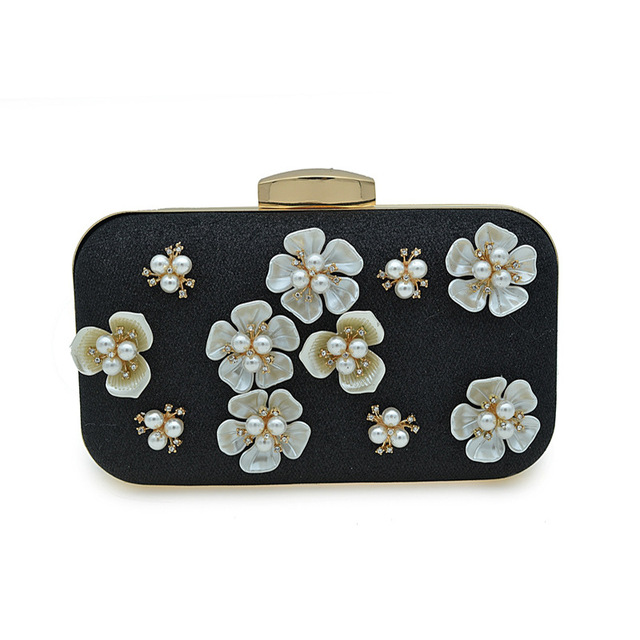 a0da0cf0c14 It's Yiiya Women's Floral Beaded Design champagne silver black color Evening  Clutch Bags Wedding Purse HB015