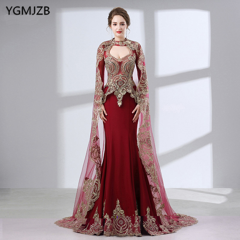 Burgundy Mermaid   Evening     Dresses   Long 2019 Gold Embroidery Beading With Cape Long Sleeves Muslim Formal Party   Evening   Gown