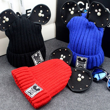 Mickey Minnie Ears With Pearls Knitted Children Thicken beanie Wool Crochet Kids Snow Winter cap Boy girl warm ear Head wrap