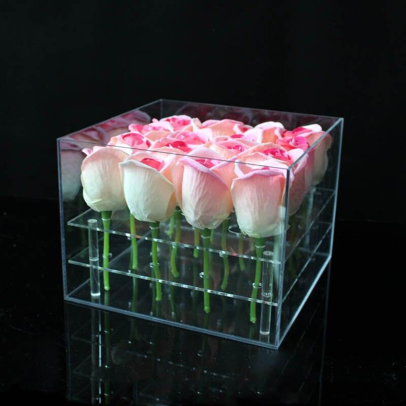 مادة الاكريليك ماكياج المنظم مربع التجميل حالة روز صندوق زهور مع غطاء ماكياج المنظم صندوق تخزين لزهرة-في صناديق وعلب تخزين من المنزل والحديقة على  مجموعة 3