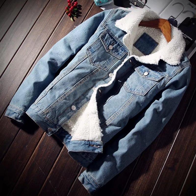 Men's Fleece Lined Winter Warm Coat Thicken Denim/Jeans Jacket Fur Collar parkas short outwear Chinese size S-5XL