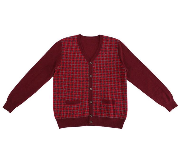 Новое поступление 100% козий кашемир вязаный мужской модный маленький клетчатый толстый кардиган свитер с v образным вырезом темно серый 2 ви