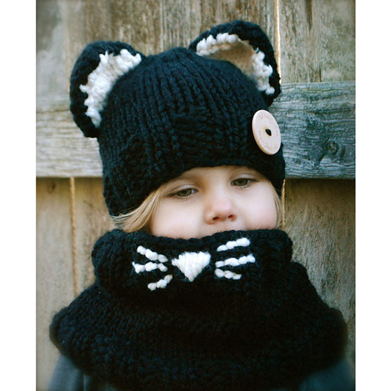 5f46d440 latest design hats KNITTING PATTERN cat hat set winter hats for children-in  Scarf, Hat & Glove Sets from Mother & Kids on Aliexpress.com | Alibaba Group