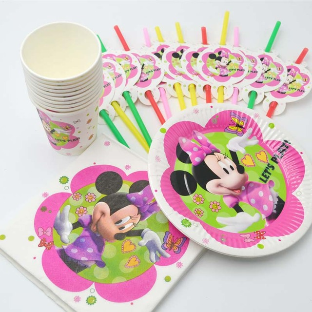 50pc Minnie Mouse Party Supplies Set Cup/Straw/Napkin/Plate Kid Pink Birthday  sc 1 st  AliExpress.com & 50pc Minnie Mouse Party Supplies Set Cup/Straw/Napkin/Plate Kid Pink ...