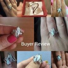 Unique Women Blue/White Fire Opal Stone Ring