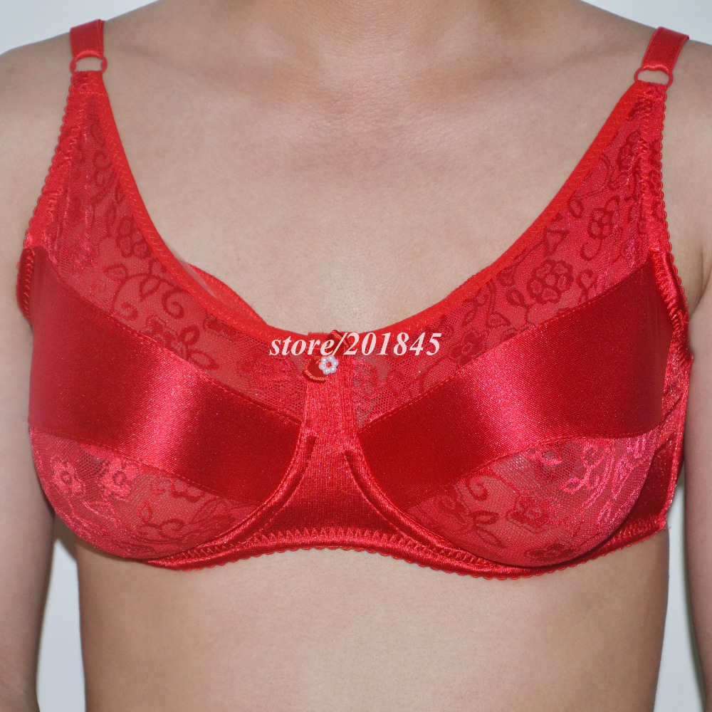 1Pair Size L(800g) Silicone Breast Form Fake False Artificial Boobs Chest Prosthesis +1 Pc Silk Red Color Bra Size 90 Code