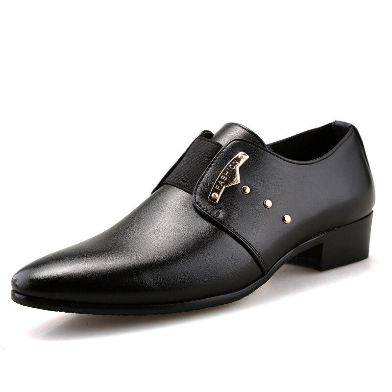 e5356d64c JUNJARM 2017 Men Formal Shoes Mens Slip-On Shoes PU Leather Brown Black  Elastic Band Men Dress Shoes Office Party Wedding Shoes