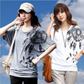 New Summer Women Printing 2016 Loose T-shirt Large Size Fashion Style Bat Shirt Young Lady T-shirt A284