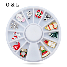 New Mix 12Designs 3d Alloy Christmas Nail Art 3d Charm Rhinestone Nail Sticker Decoration Wheel Manicure Tools