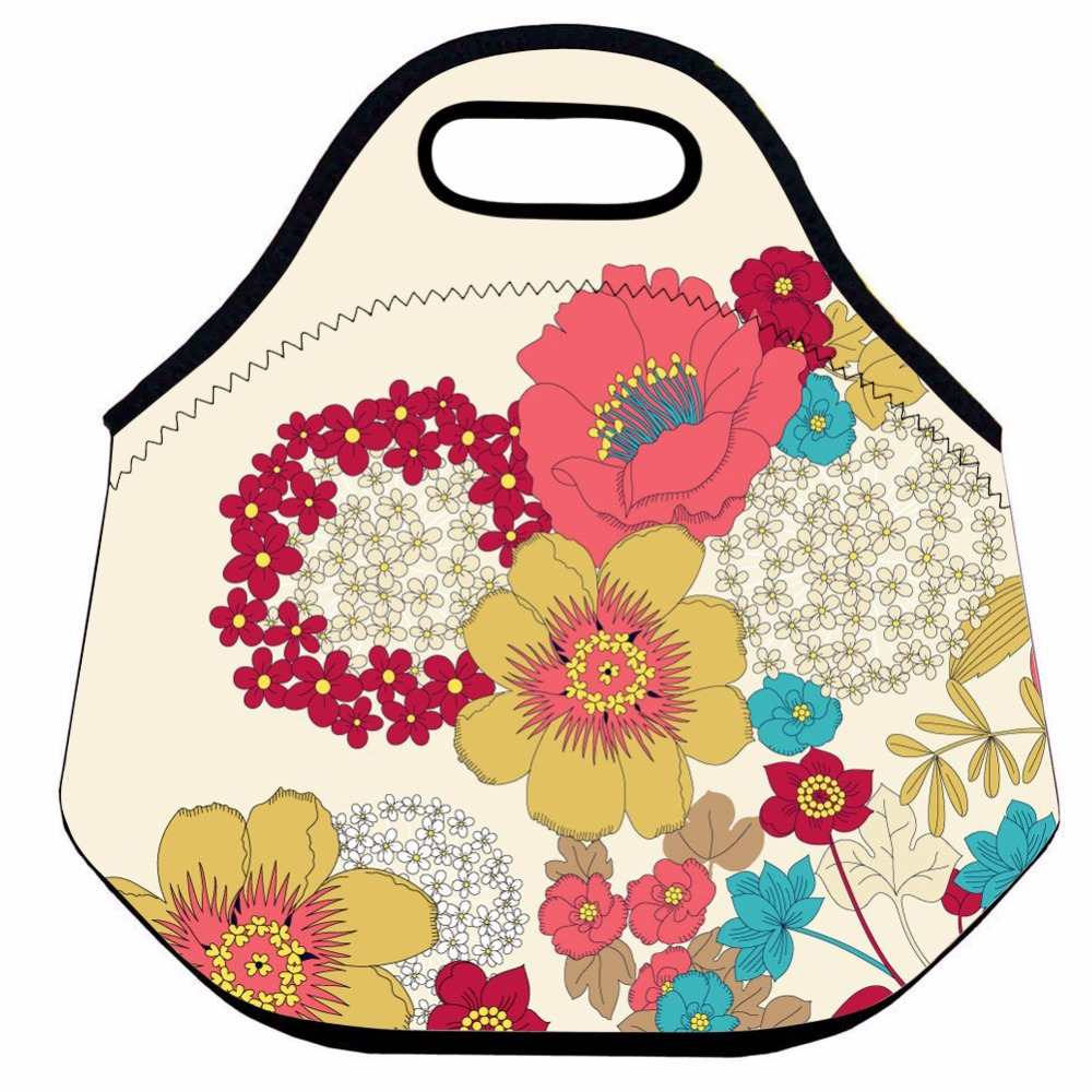 Insulated Lunch Bag for Women,Flower Neoprene Thermal Lunch Bag for Kid,Girls School Lunch Bag,Food Picnic Lunch Tote
