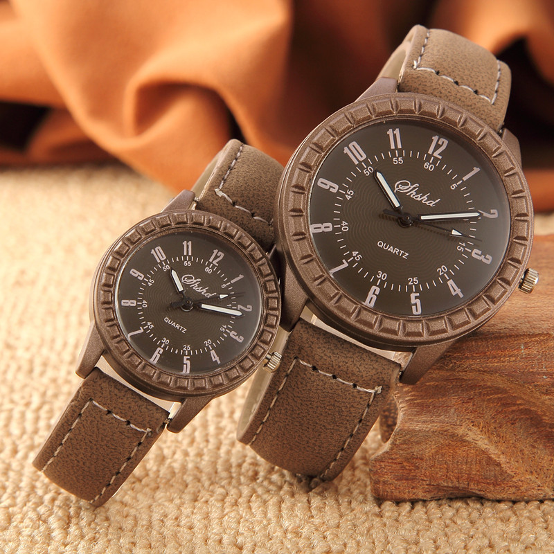 Couple Watches Minimalist Men Women Luxury Lovers Clock For Fahsion Brown Gift Reloj
