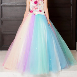 Colorful Rainbow Tulle Overskirt Ball Gown Wedding Overlay 2019 New Tulle Long Detachable Overskirt for Wedding Prom
