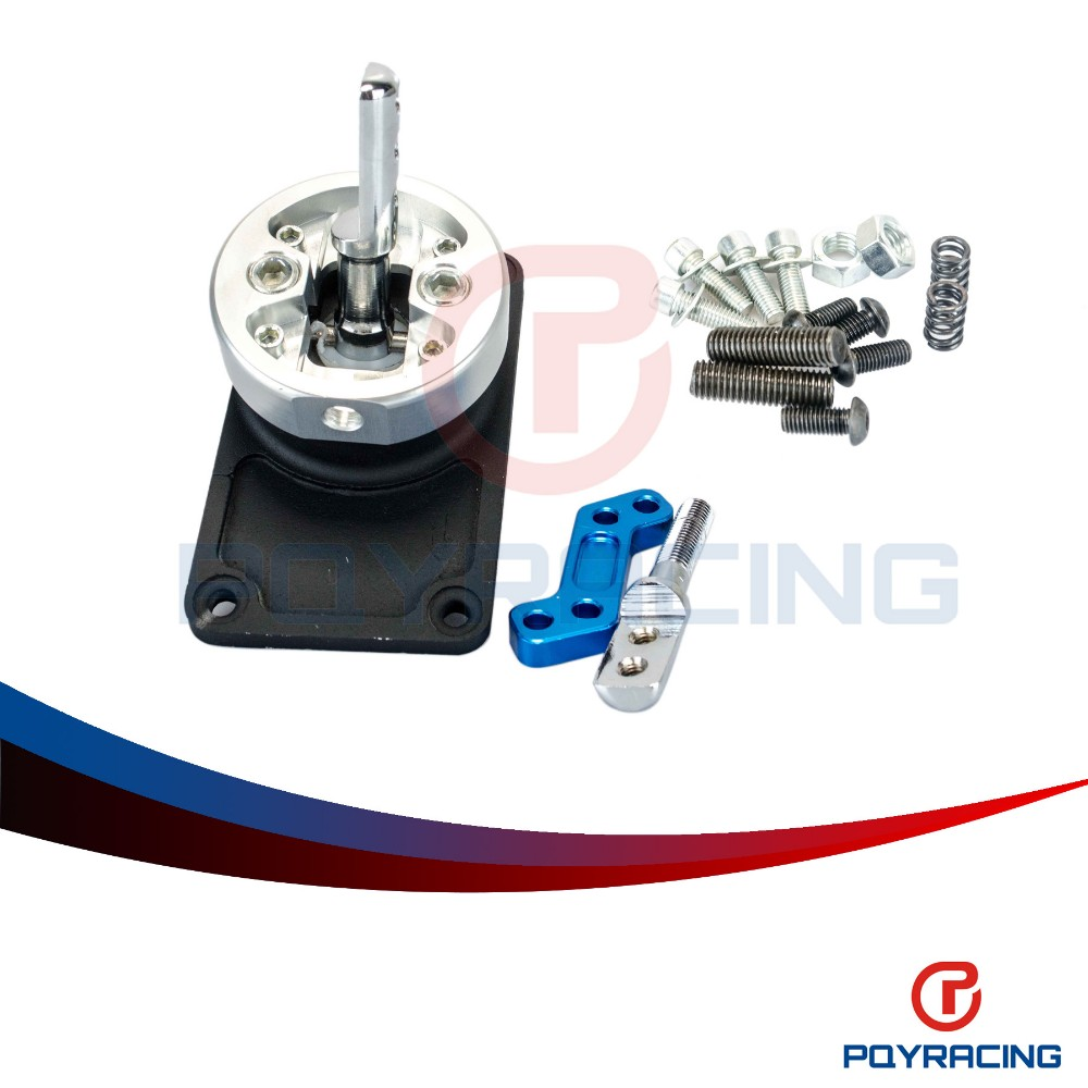 PQY STORE - ALUMINUM RACING SHORT THROW SHIFTER FOR 83-04 FORD MUSTANG T5  T-45 W/OD BLACK PQY5305