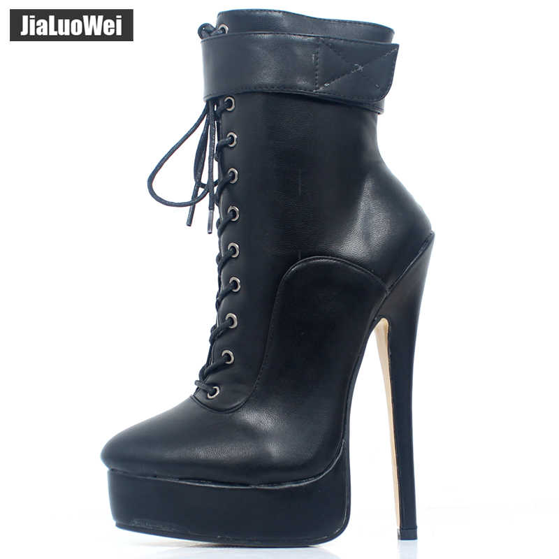 53078d61fc0 ... jialuowei Ankle Strap Boots Women 18cm/7inch High Thin Heel Platform  Boots PU Leather Shoes ...
