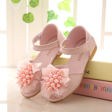 6e3d59bd9 Summer pink bow beaded sandals girls kids white soft princess flat shoe  sandalia couro cute leisure