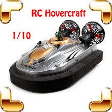 Summer Gift  1/10 2.4G RC Large Hovercraft Remote Control Boat Model Hovership LED Amphibious Boat Electric Machine Military Toy