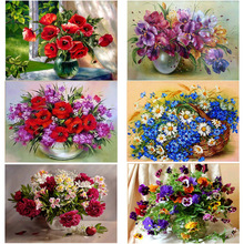 & Flower Arrangement 5D DIY Diamond  Cross Embroidery Wall Stickers Home Decoration Vas