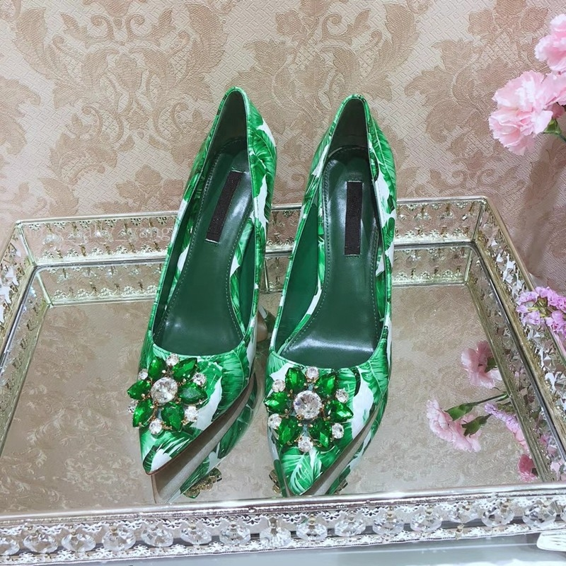 2018 Hot Spring Summer Shoes Woman Patent Leather Shallow Pumps Pointed Toe Crystal Designer Woman Printed Pumps Party Shoes hee grand sweet patent leather women oxfords shoes for spring pointed toe platform low heels pumps brogue shoes woman xwd6447