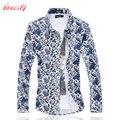 Мужчин Рубашки Платья Плюс Размер М-6XL Блузка С Длинным Рукавом Slim Fit Случайные Хлопка Camisa Masculina Социальной Цветочные Рубашки SL-E510