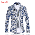Men Dress Shirts Plus Size M-6XL Long Sleeve Blouse Slim Fit Casual Cotton Camisa Masculina Social Floral Shirts SL-E510