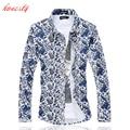 Os homens Se Vestem Camisas Plus Size M-6XL Manga Longa Blusa Floral Camisas Slim Fit Cotton Casual Camisa Masculina Social SL-E510