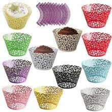 12pcs/lot Little Vine Lace Laser Cut Cupcake Wrapper Liner Baking Cup Hollow Paper Cake DIY Fondant