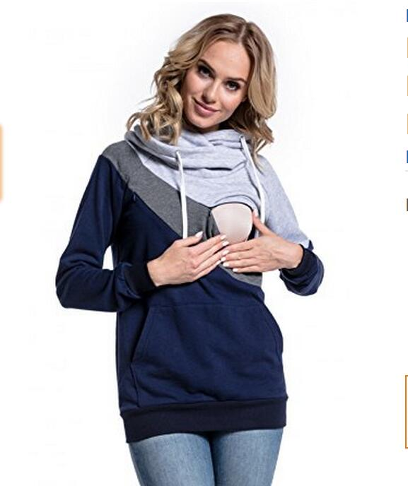 83517bd7aa671 Plus Size Pregnancy Nursing Long Sleeves Maternity Clothes Hooded  Breastfeeding Tops Patchwork T-shirt for ...