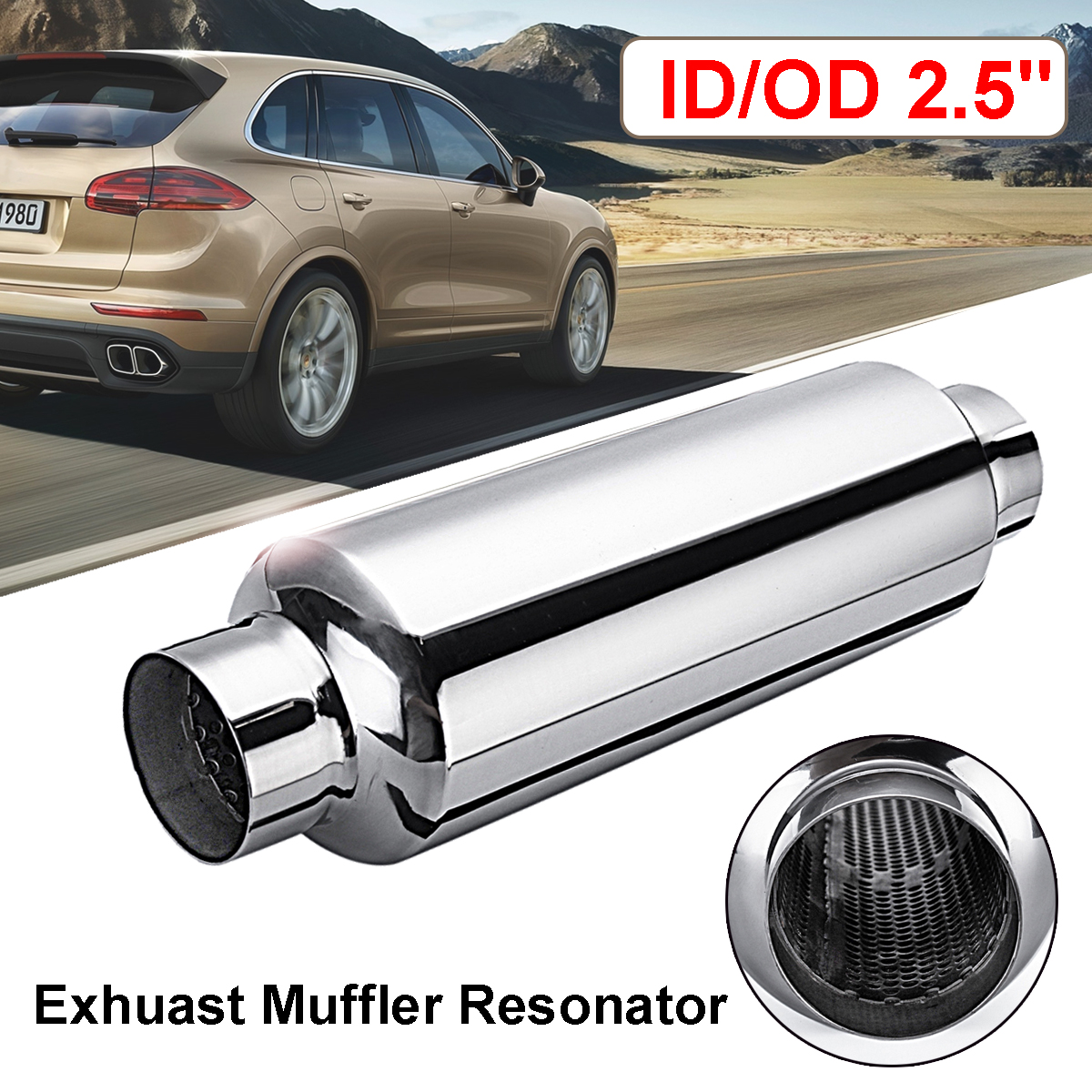 Universal Stainless Steel Car Resonator Exhaust Muffler 2.5