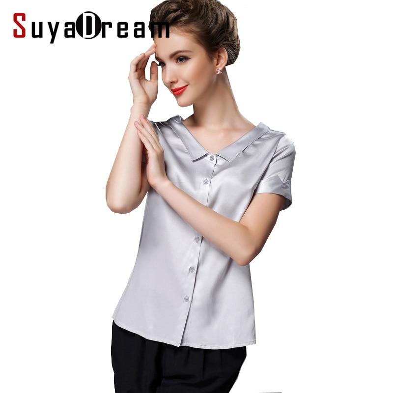 Silk blouse Women short sleeve work solid Office lady Blouse shirt Blusas femininas spandex Plus size 2017 NEW FAll shirt
