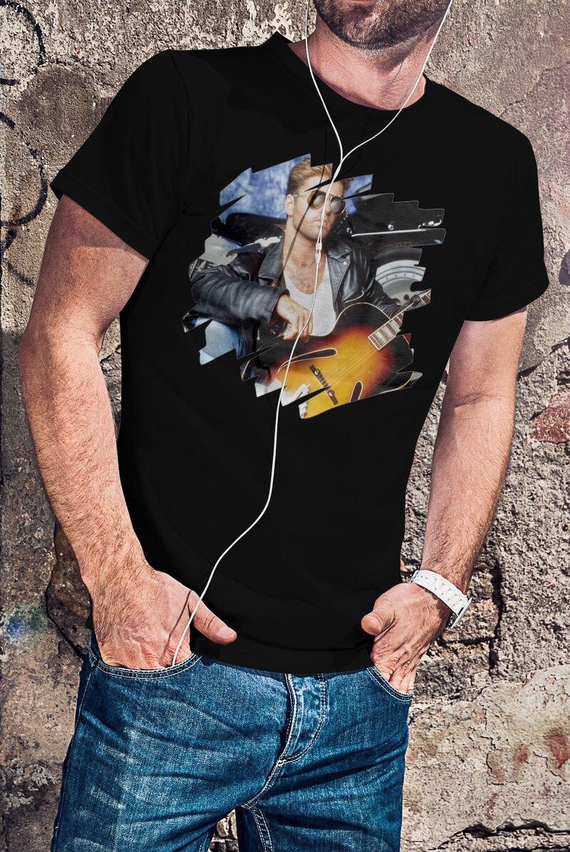 Black Cotton T Shirt Short Sleeve Summer Crew Neck Mens George Michael S M L Xl Xxl 3Xl 4Xl Tee Shirt ...