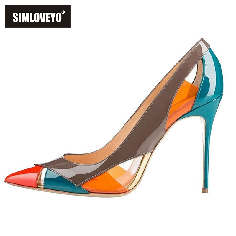 SIMLOVEYO luxury handmade woman Pumps Ladies high heels Patchwork shoes Patent leather Pointed toe Thin stiletto heels female-in Women's Pumps from Shoes    1