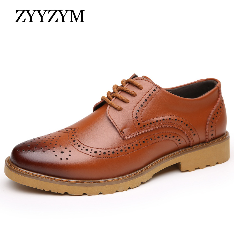 ZYYZYM Men Brogue Shoes 2018 Spring Autumn New Fashion Men's Round British Formal Shoes Flat Leather Dress For Man Shoes