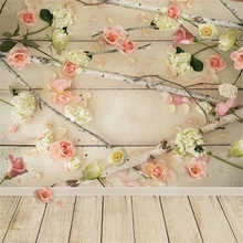 Laeacco Pink Flowers Branch Planks Wooden Floor Baby Newborn Portrait Photographic Background Photography Backdrops Photo Studio pastel pink color princess baby girl photo shoot background printed flowers newborn photography props kids portrait backdrops