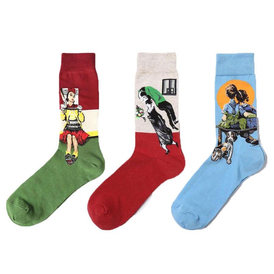 Unisex Retro Sock Male Modern Renaissance Art Oil Painting Printed Socks Funny Novelty Happy Socks For Women Men 1 Pair